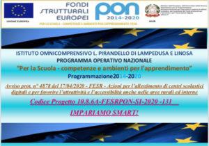 Disseminazione Progetto FESR 10.8.6 10.8.6A-FESRPONSI-2020-131 – Impariamo smart!